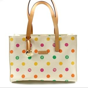 Dooney & Bourke Polka Dot Canvas/Leather Tote